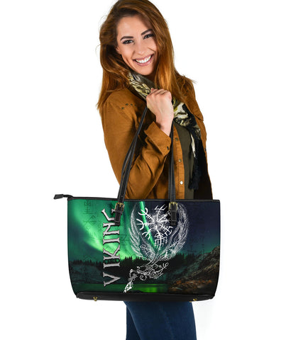 Image of 1stIceland Viking Large Leather Tote Northern Lights TH12 - 1st Iceland