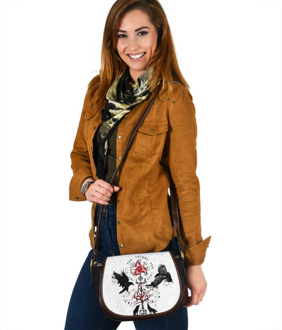 1stIceland Viking Saddle Bag, Vegvisir Hugin and Munin with Fenrir Yggdrasil K4
