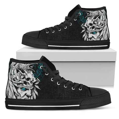 1stIceland Viking Odin And Raven Turquoise High Top Shoe
