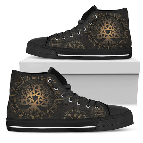 1stIceland Viking High Top Shoes, Yggrasil Vegvisir Runes Circle K7 - 1st Iceland