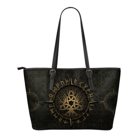 1stIceland Viking Leather Tote Bags, Yggdrasil Runes Circle - 1st Iceland