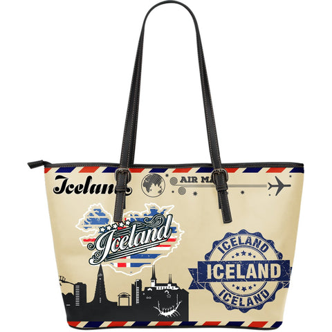 1stIceland Leather Tote Bags, Iceland Flag Map Postcard - 1st Iceland