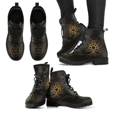 Image of 1stIceland Viking Leather Boots, Yggdrasil Vegvisir Runes Circle K7 - 1st Iceland