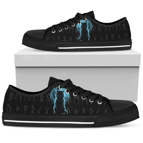 1stIceland Fenrir Viking Wolf And Moon Low Top Shoe TH12 - 1st Iceland