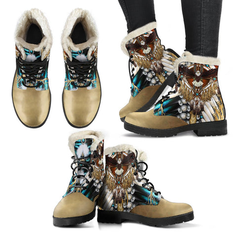 Image of Native American Faux Fur Leather Boots Mandala 2nd K7 - 1st Iceland