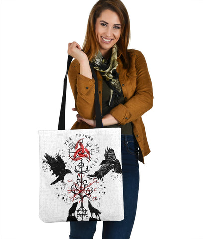 Image of 1stIceland Viking Tote Bag, Vegvisir Hugin and Munin with Fenrir Yggdrasil K4
