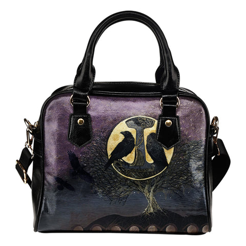 1stIceland Viking Shoulder Handbag, Raven And Tree Of Life K5 - 1st Iceland