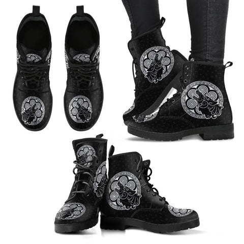 Image of 1stIceland Viking Leather Boots, Tyr's Fenrir Runes H5 - 1st Iceland
