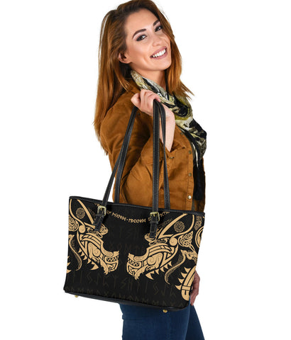 1stIceland Viking Small Leather Tote, Fenrir Tattoo The Ragnarok - Gold K4 - 1st Iceland