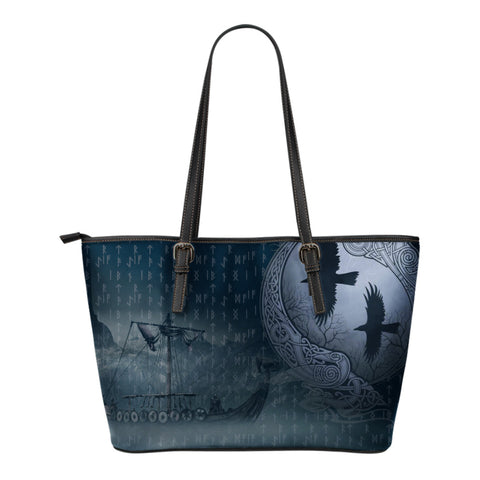 Image of 1stIceland Viking Leather Tote Bags, Odin's Eye Ravens Drakkar Mjolnir - 1st Iceland
