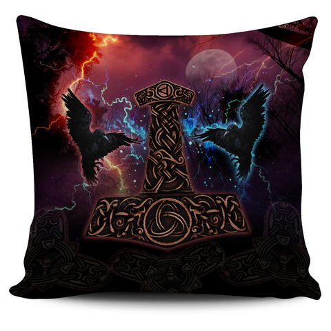 1stIceland Viking Pillow Cover, Mjolnir Huggin And Muninn - 1st Iceland