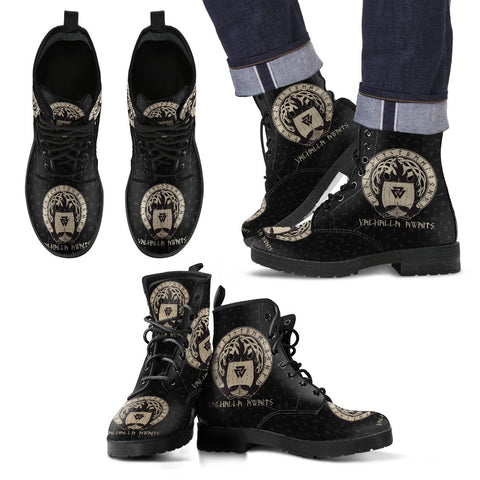 1stIceland Viking Leather Boots, Yggdrasil Drakkar Valknut Valhalla Awaits H5 - 1st Iceland