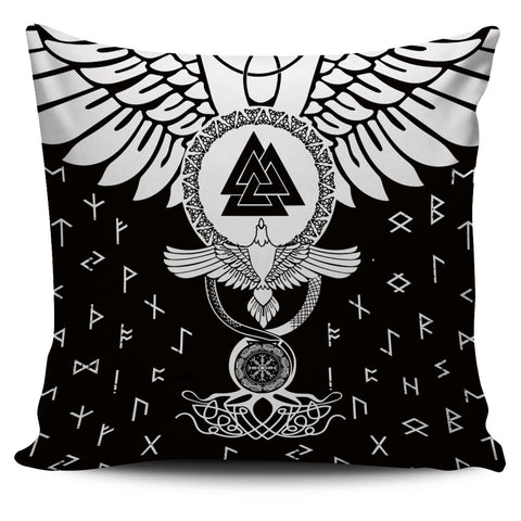 1stIceland Viking Pillow Cover, Flying Raven Tattoo And Valknut - 1st Iceland