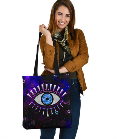 1stIceland Evil Eye Tote Bag Simple Style - Black K8 - 1st Iceland