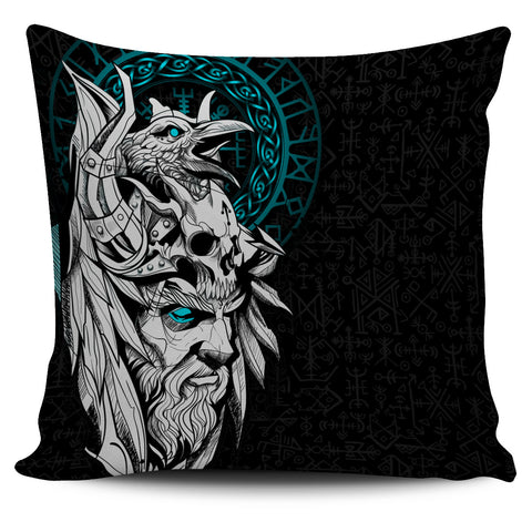 1stIceland Viking Odin And Raven Turquoise Pillow Cover TH12 - 1st Iceland