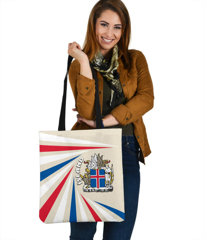Image of 1stIceland Iceland Tote Bag Coat Of Arms Creative Vibes - Beige K8 - 1st Iceland