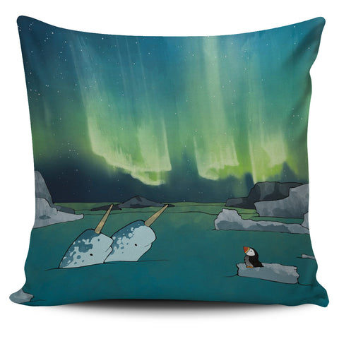 1stIceland Pillow Case, Icelandic Puffins Northern Light - 1st Iceland