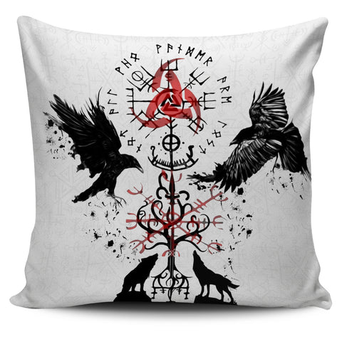 1stIceland Viking Pillow Cover, Vegvisir Hugin and Munin with Fenrir Yggdrasil K4 - 1st Iceland