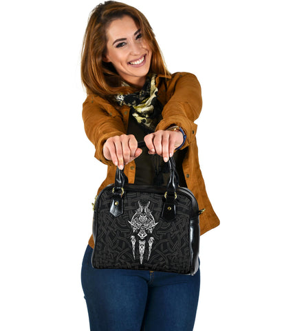 1stIceland Viking Shoulder Handbag, Fenrir The Vikings Wolves Th00 Black - 1st Iceland