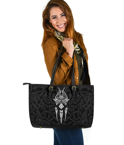 1stIceland Viking Large Leather Tote, Fenrir The Vikings Wolves Th00 Black - 1st Iceland