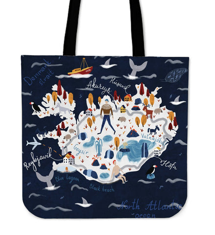 1stIceland Tote Bags, Iceland Map K5 - 1st Iceland