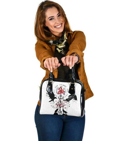 Image of 1stIceland Viking Shoulder Handbag, Vegvisir Hugin and Munin with Fenrir Yggdrasil K4
