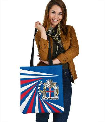 1stIceland Iceland Tote Bag Coat Of Arms Creative Vibes - Blue