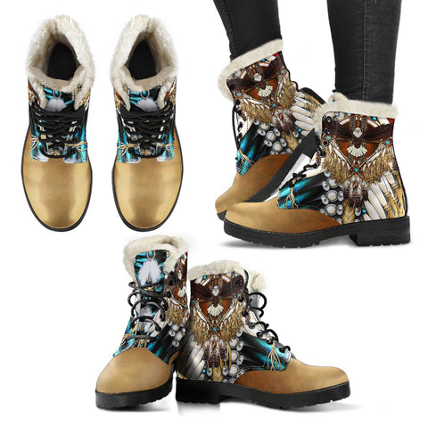 Image of Native American Faux Fur Leather Boots Mandala 3th K7 - 1st Iceland