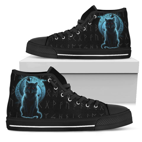 1stIceland Fenrir Viking Wolf And Moon High Top Shoe TH12 - 1st Iceland