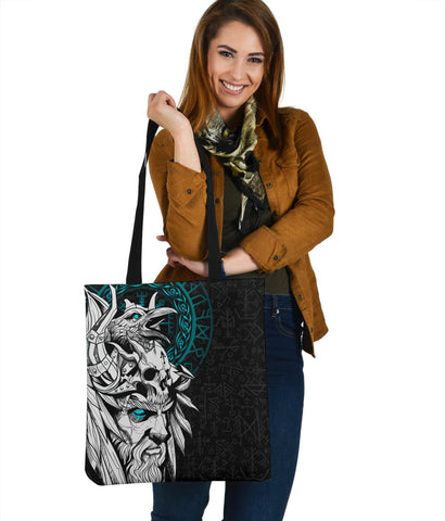 1stIceland Viking Odin And Raven Turquoise Tote Bag