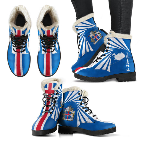 1stIceland Faux Fur Leather Boots, Ísland Flag Map Coat Of Arms K7 - 1st Iceland