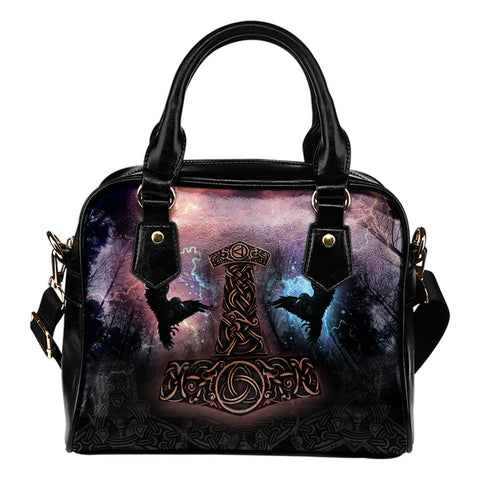 1stIceland Viking Shoulder Handbag, Mjolnir Huggin And Muninn - 1st Iceland