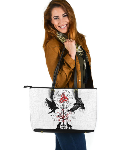 Image of 1stIceland Viking Large Leather Bag, Vegvisir Hugin and Munin with Fenrir Yggdrasil K4