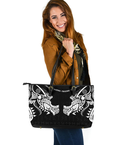 Image of 1stIceland Viking Large Leather Tote, Fenrir Tattoo The Ragnarok K4 - 1st Iceland