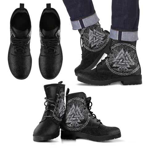 Image of 1stIceland Viking Leather Boots, Valknut Yggdrasil TH00 - 1st Iceland