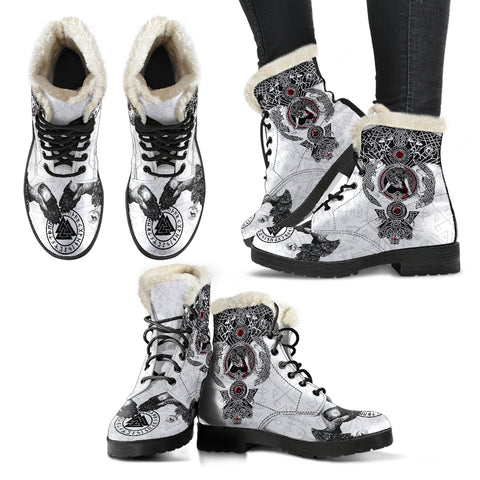 1stIceland Viking Faux Fur Leather Boots, Odin's Ravens Valknut Fenrir Skoll And Hati K5 - 1st Iceland