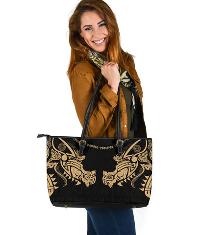 Image of 1stIceland Viking Large Leather Tote, Fenrir Tattoo The Ragnarok - Gold K4 - 1st Iceland
