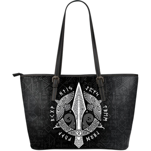 1stIceland Viking Leather Tote Bags, Odin's Spear Ravens Gungnir Runes (Large) - 1st Iceland