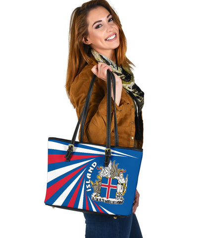 1stIceland Iceland Small Leather Tote Coat Of Arms Creative Vibes - Blue