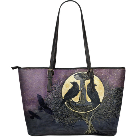 1stIceland Viking Large Leather Tote, Raven And Tree Of Life K5 - 1st Iceland