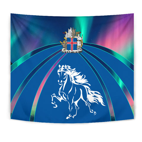 Image of 1stIceland Pullover Tapestry, Icelandic Horse Coat Of Arms Northern Lights K4 - 1st Iceland