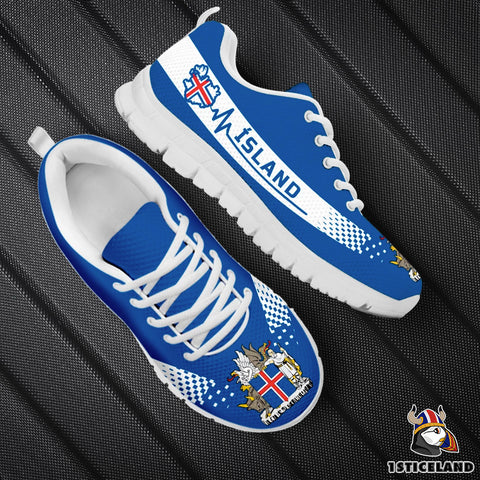 1stIceland Sneakers, Ísland Heartbeat Coat Of Arms TH0 - 1st Iceland