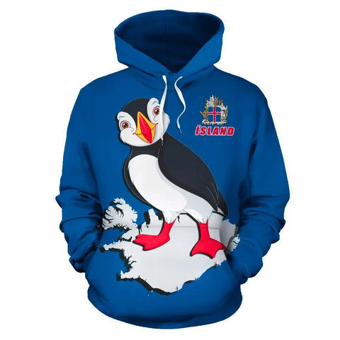 1stIceland Pullover Hoodie, Iceland Map Coat Of Arms Puffin K4 - 1st Iceland
