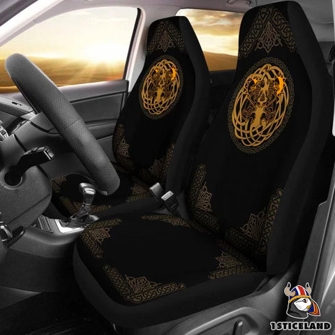 1stIceland Viking Car Seat Covers, Tree Of Life Fenrir Skoll And Hati A2 - 1st Iceland