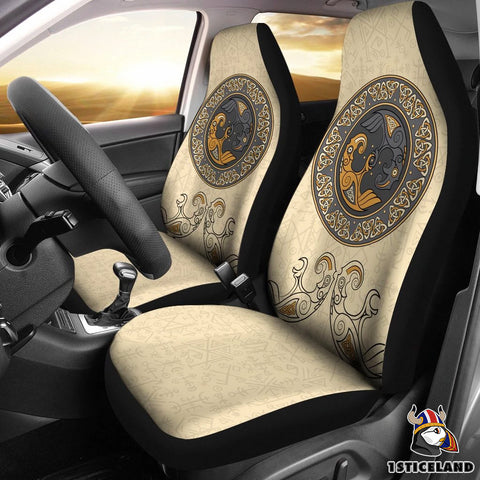 1stIceland Viking Car Seat Covers, Odin's Raven Futhark Norse Celtic Knot Nn8 - 1st Iceland