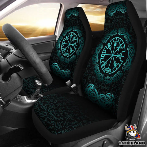 1stIceland Viking Car Seat Covers, Vegvisir Futhark Norse Nn8 1 - 1st Iceland