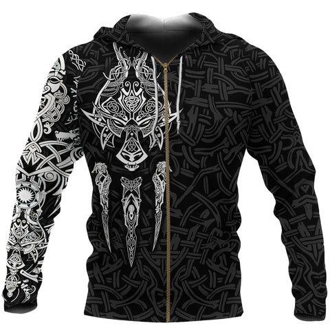 Image of 1stIceland Viking Zip Up Hoodie, Fenrir The Vikings Wolves Black - New K4