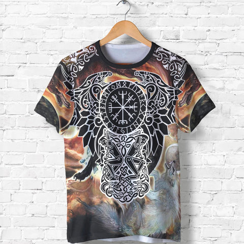 Image of 1stIceland Viking T-Shirt, Fenrirs Skoll And Hati Vegvisir Rune Circle K7 - 1st Iceland