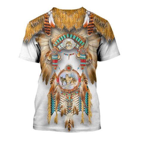 1st Iceland Wolf Native American T-Shirt TH12 - 1st Iceland
