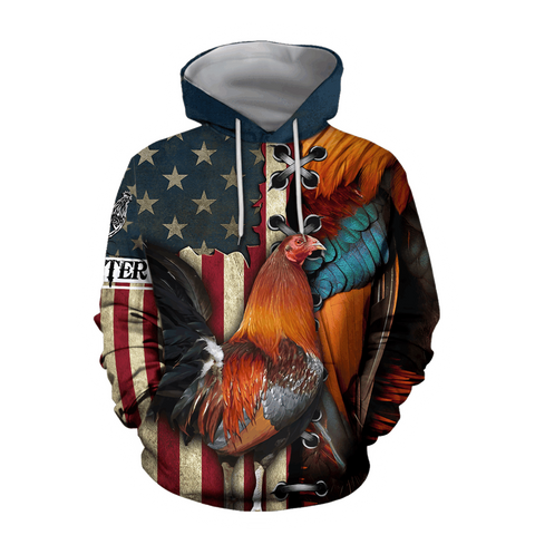 1stIceland Rooster 3D Printed Unisex Hoodie American TH12 - 1st Iceland